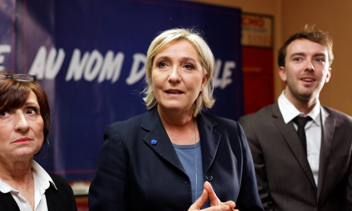 French National Front leader Marine Le Pen meets with representatives of the medical professions in a restaurant in Denain near Lille, France on Jan. 27, 2017. Since the election of Donald Trump as U.S. president on Nov. 8, the French race has been closely-watched as another crucial battle between populist and establishment forces.  (Sylvain Lefevre/Getty Images)