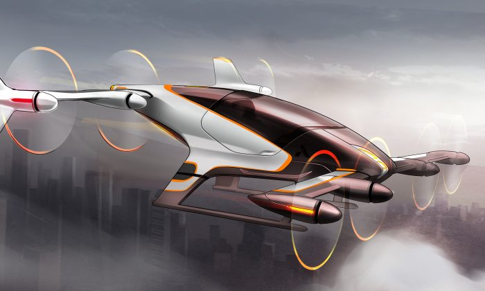 This artist rendering provided by Airbus shows a vehicle from their flying car project, Vahana. (Airbus)