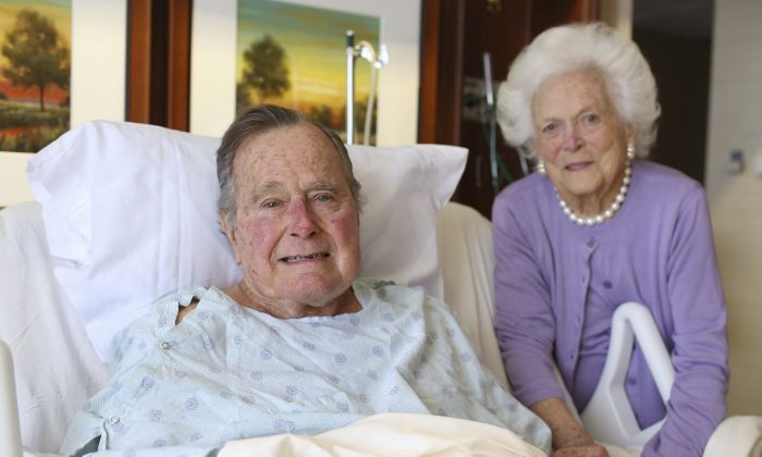 Former President George H.W. Bush and his wife Barbara pose for a photo at Houston Methodist Hospital in Houston on Jan. 23, 2017. (Courtesy the Office of George H.W. Bush via AP)
