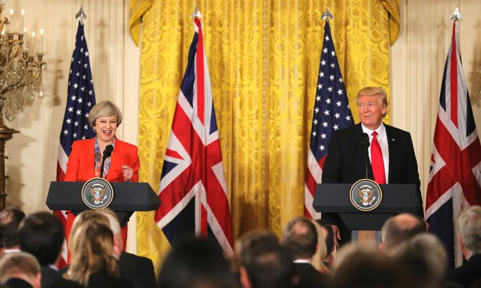 British Prime Minister Theresa May speaks during a joint press conference with U.S. President Donald Trump in The East Room at The White House in Washington, DC, on Jan. 27, 2017. British Prime Minister Theresa May is on a two-day visit to the United States and will be the first world leader to meet with President Donald Trump. (Christopher Furlong/Getty Images)