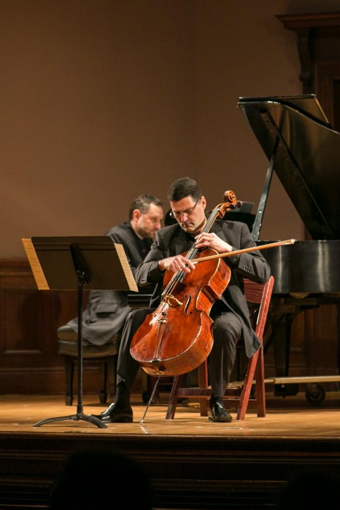 Pianist Vsevolod Dvorkin and cellist Rafael Figueroa play Schubert's Arpeggione Sonata, D821 during a Romantic Vienna performance at Columbia University in New York on Jan. 26. (Benjamin Chasteen/Epoch Times)