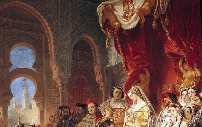 The Reception Of Christopher Columbus By Ferdinand II Of Aragon And Isabella by Eugene Deveria.