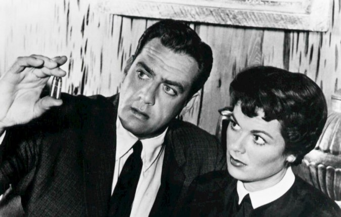 Raymond Burr and Barbara Hale in the CBS-TV series, Perry Mason in 1958 (Public Domain)