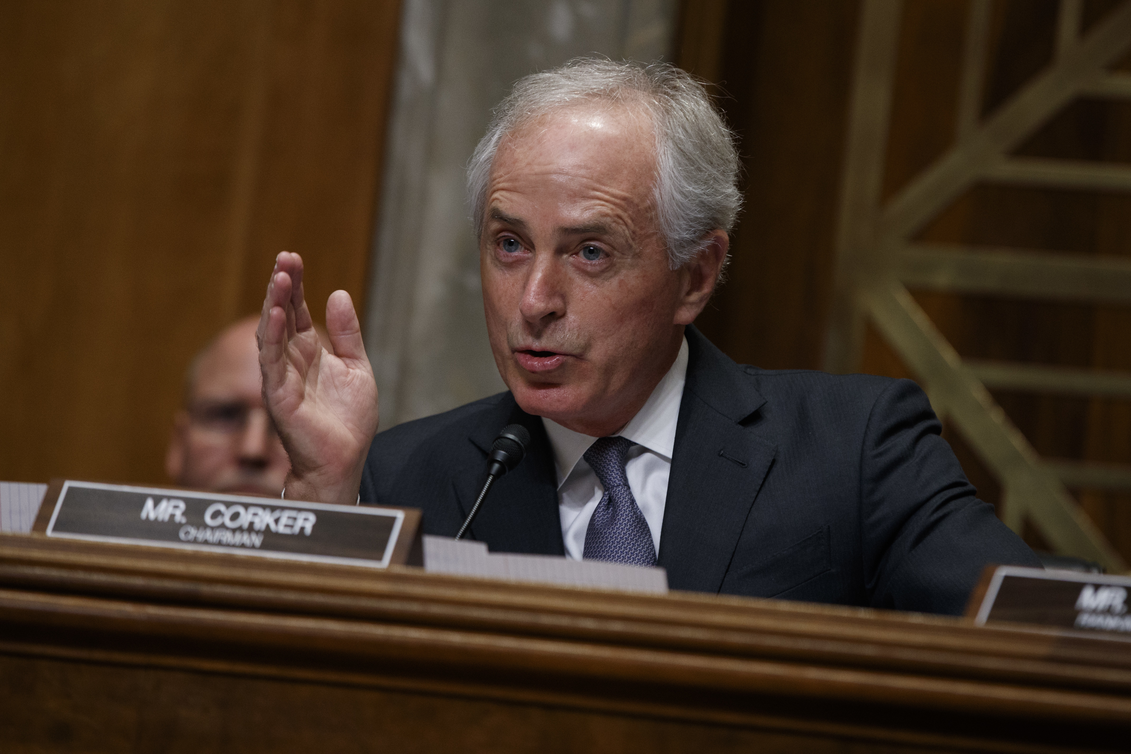 Sen. Bob Corker, R-Tenn., the chairman of the Foreign Relations Committee, speaks on Capitol Hill in Washington during the committee's confirmation hearing for UN Ambassador-designate, South Carolina Gov. Nikki Haley. (AP Photo/Evan Vucci)
