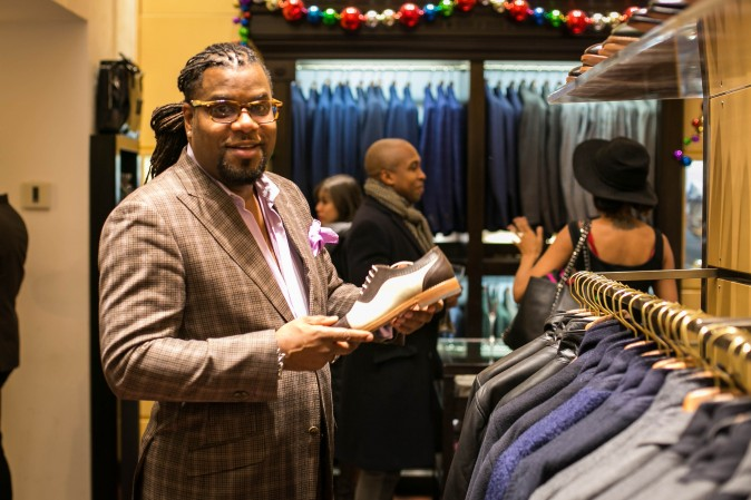 Eredi Pisanò boutique celebrating 15 years on Madison Avenue in New York on Dec. 21, 2016. (Benjamin Chasteen/Epoch Times)