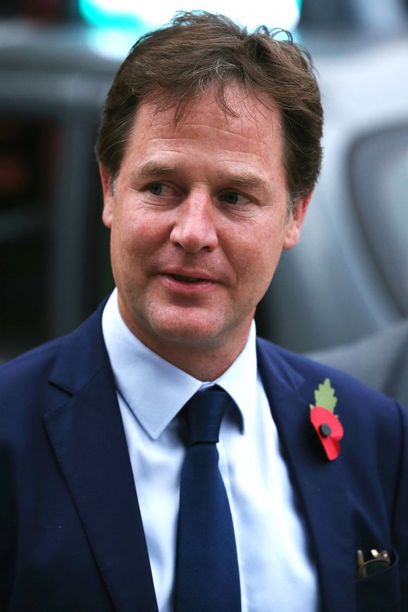 Former Leader of the Liberal Democrats Nick Clegg arrives at St Georges Cathedral for a memorial service for former Liberal Democrat leader Charles Kennedy in London, England on Nov. 3, 2015. (Dan Kitwood/Getty Images)