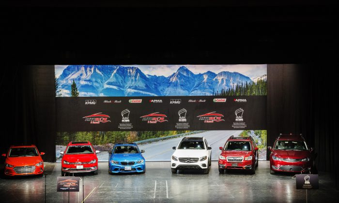 Canadian Car of the Year finalists (L to R) Hyundai Elantra, Volkswagen Golf Alltrack, BMW M2 and  Canadian Utility Vehicle of the Year finalists Mercedes-Benz GLC 300 4Matic, Subaru Forester and Chrysler Pacifica in Toronto on February 16. (Courtesy of Michelle Siu/AJAC)