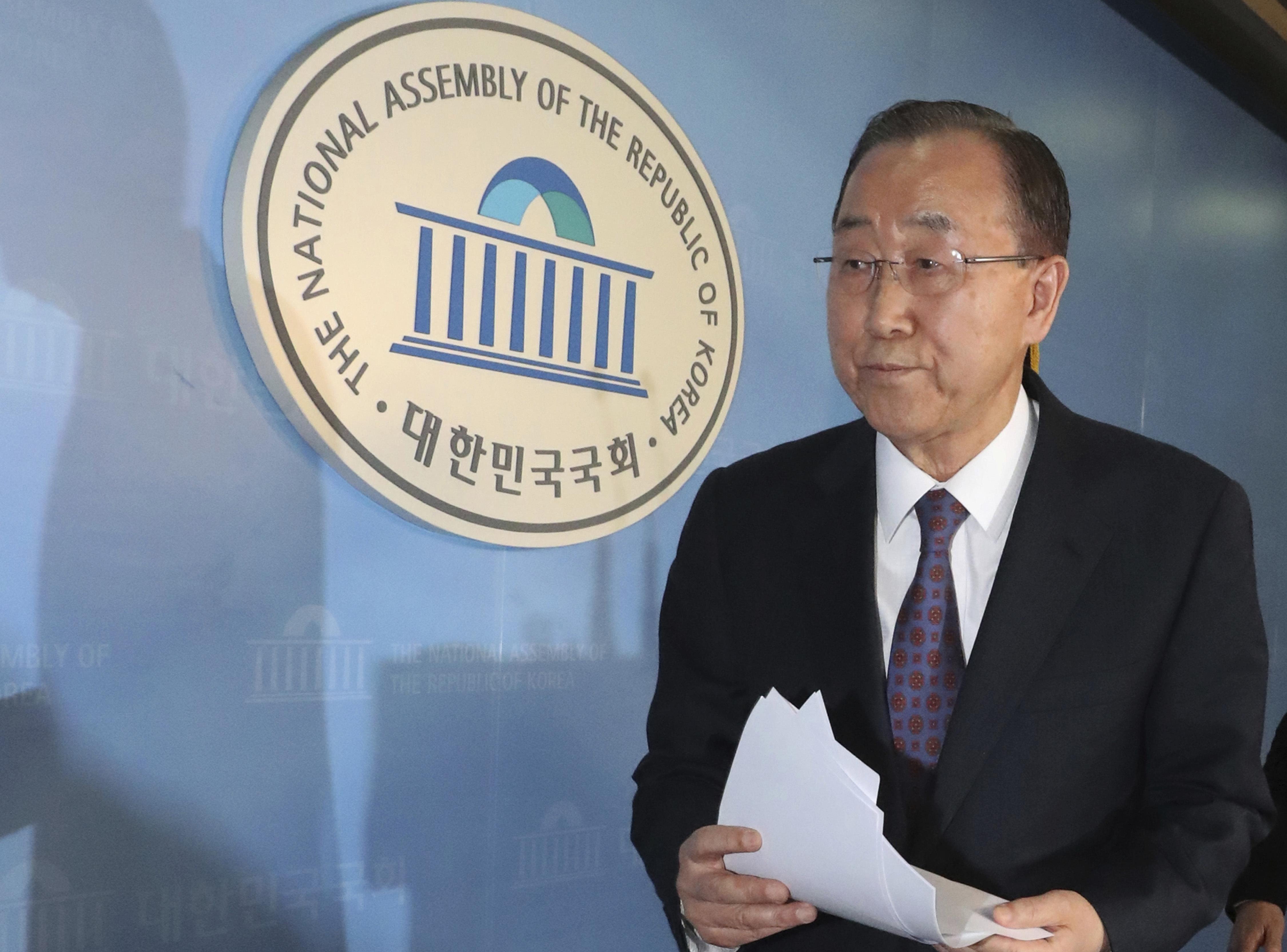 Former U.N. Secretary-General Ban Ki-moon leaves after a press conference at the National Assembly in Seoul, South Korea on Feb. 1, 2017. (Ahn Jung-won/Yonhap via AP)