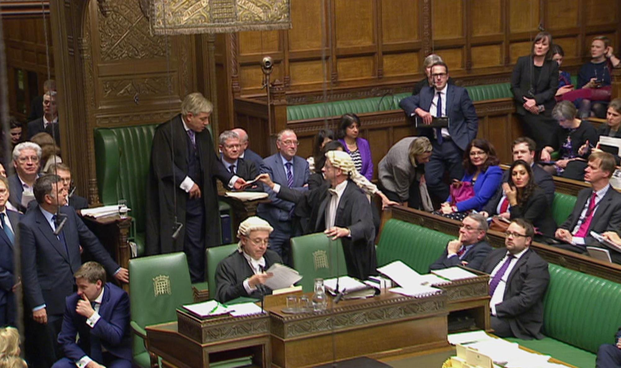 This image taken from Parliamentary Recording Unit TV shows the result of the parliamentary vote in favour of the British Government's Brexit Bill being handed to the Speaker of the House of Commons on Feb. 1, 2017. (AP Photo/Parliamentary Recording Unit, via AP)