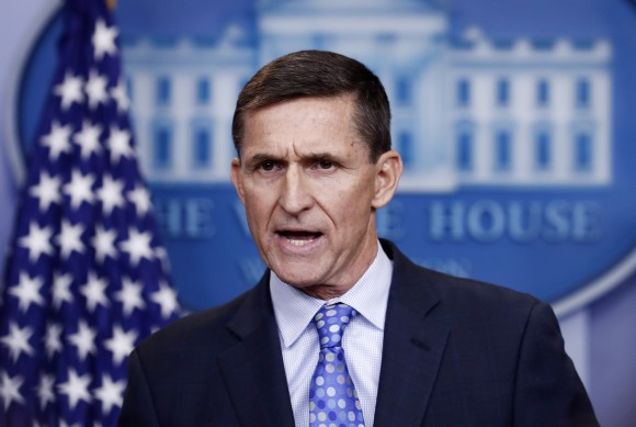 National Security Adviser Michael Flynn speaks during the daily news briefing at the White House, in Washington on Feb. 1, 2017.(AP Photo/Carolyn Kaster)