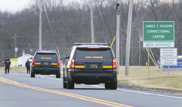 More State Troopers arrive on scene as all Delaware prisons went on lockdown late Wednesday due to a hostage situation unfolding in Smyrna, Del., on Feb. 1, 2017. (Suchat Pederson/The Wilmington News-Journal via AP)
