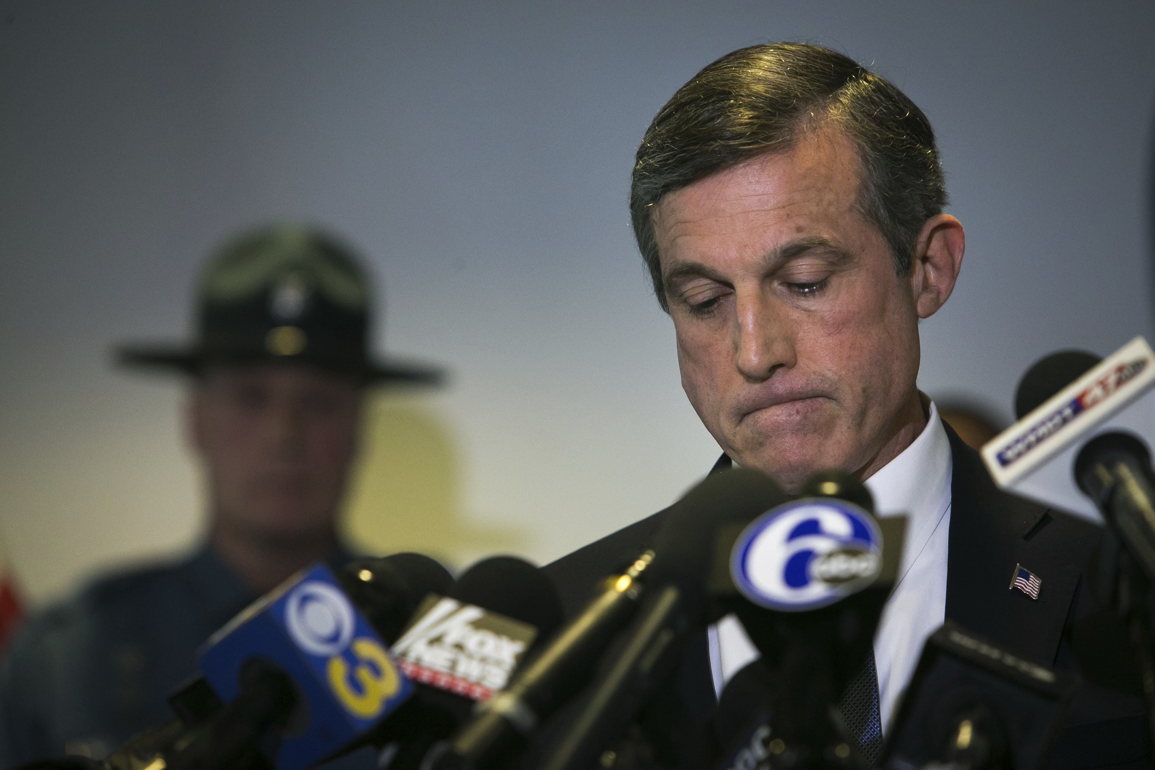 Gov. John Carney at a news conference, on the loss of one of the prison guard at Vaughn Correctional Center during the hostage situation in Smyrna, Del., on Feb. 2, 2017. (Suchat Pederson/The Wilmington News-Journal via AP)
