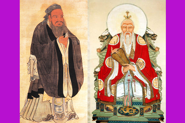 (L-R) Confucius and Laozi. (Public domain combined by Epoch Times)