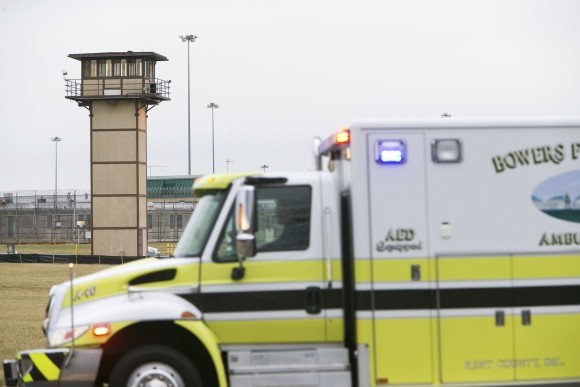 More ambulances arrive on scene as all Delaware prisons went on lockdown at the James T. Vaughn Correctional Center in Smyrna, on Feb. 1, 2017. (Suchat Pederson/The Wilmington News-Journal via AP)