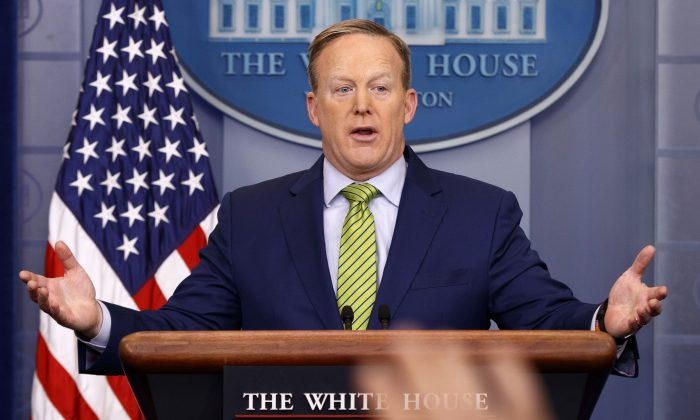 White House press secretary Sean Spicer speaks during the daily press briefing in the briefing room of the White House in Washington on Feb. 2, 2017. (AP Photo/Evan Vucci)
