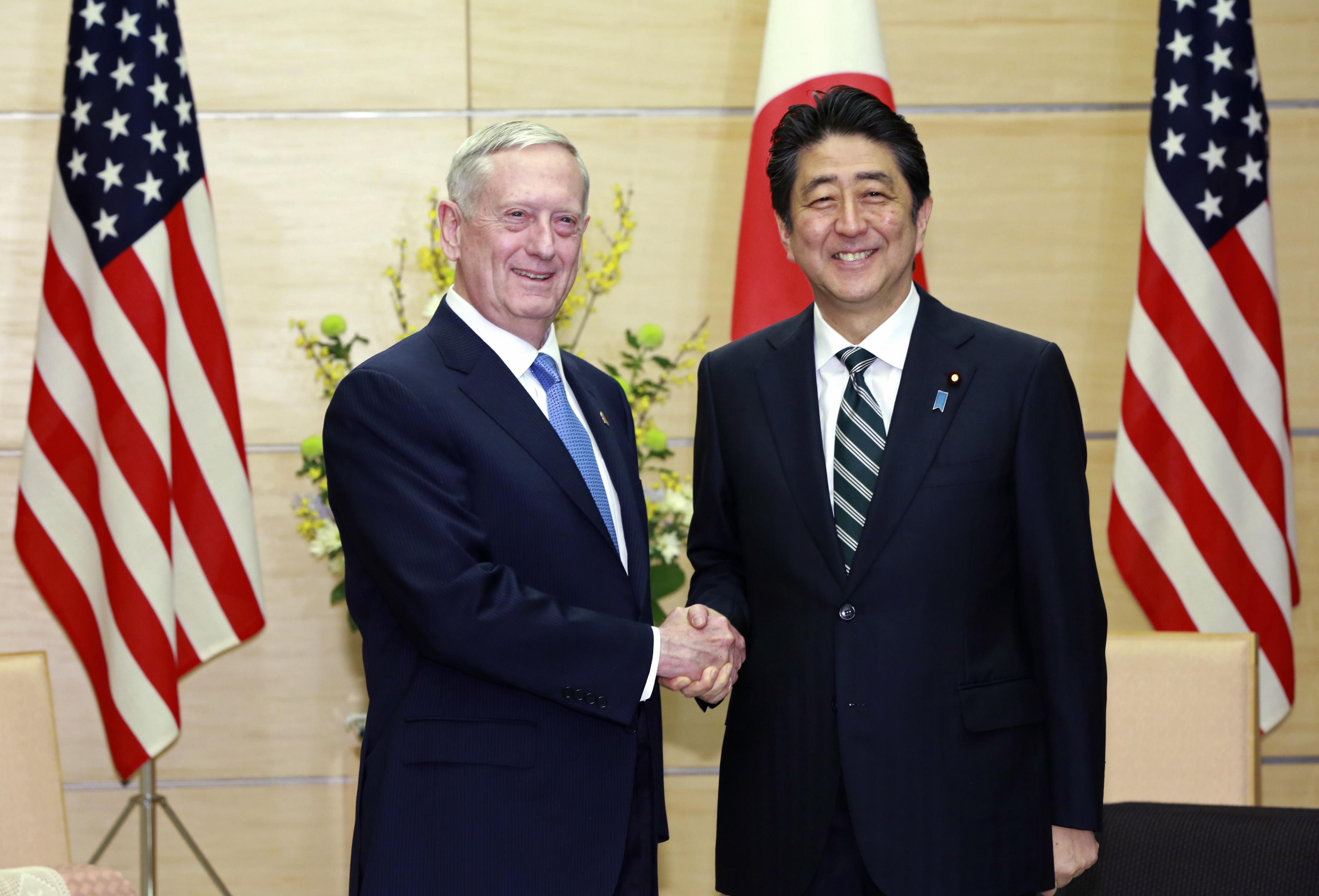 U.S. Defense Secretary Jim Mattis (L) and Japanese Prime Minister Shinzo Abe at the prime minister's office in Tokyo on Feb. 3, 2017. (AP Photo/Eugene Hoshiko, Pool)