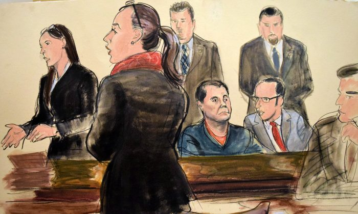 "In this courtroom art, Joaquin ""El Chapo"" Guzman (C) listens as his federal defender Michelle Gelernt (L) and Assistant U.S. Attorney Andrea Goldbarg, second left, talk at his Brooklyn federal court appearance in New York on Feb. 3, 2017. (AP Photo/Elizabeth Williams)"