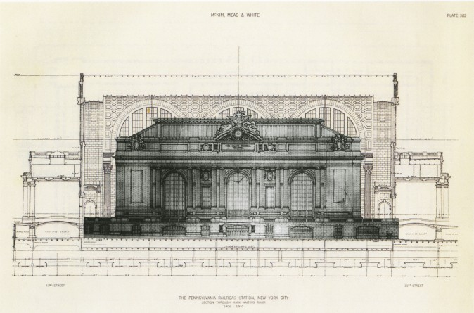 Drawing of Grand Central Station inside the original  Pennsylvania Station in New York City by Atelier & Co. (Courtesy of Richard Cameron)