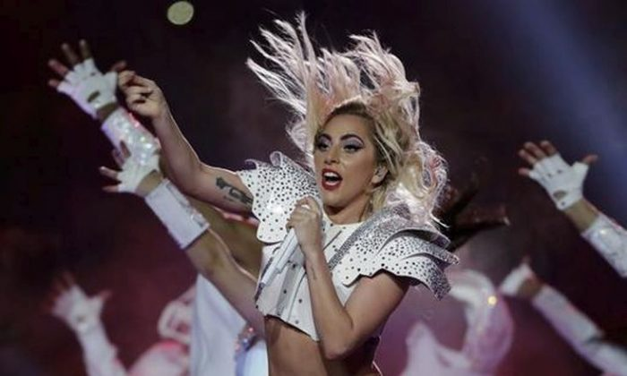 Singer Lady Gaga performs during the halftime show of the NFL Super Bowl 51 football game between the New England Patriots and the Atlanta Falcons in Houston on Feb. 5, 2017. (AP Photo/Matt Slocum)