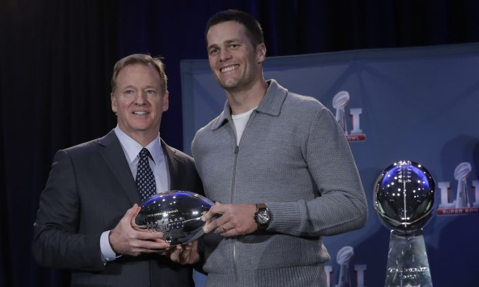 NFL commissioner Roger Goodell and New England Patriots quarterback Tom Brady during a news conference after the NFL Super Bowl 51 football game in Houston on Feb. 6, 2017. (AP Photo/Morry Gash)