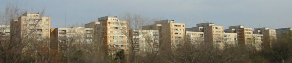 Apartment blocks in Romania. (Public domain)