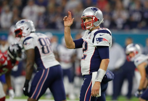 Tom Brady #12 of the New England Patriots gestures late in the game against the Atlanta Falcons during Super Bowl 51 at NRG Stadium in Houston, Texas on Feb. 5, 2017. (Kevin C. Cox/Getty Images)