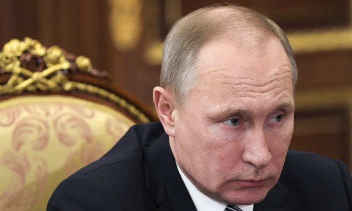 Russian President Vladimir Putin during a meeting in the Kremlin in Moscow, Russia on Feb. 3, 2017. (Alexei Druzhinin/Sputnik, Kremlin Pool Photo via AP)