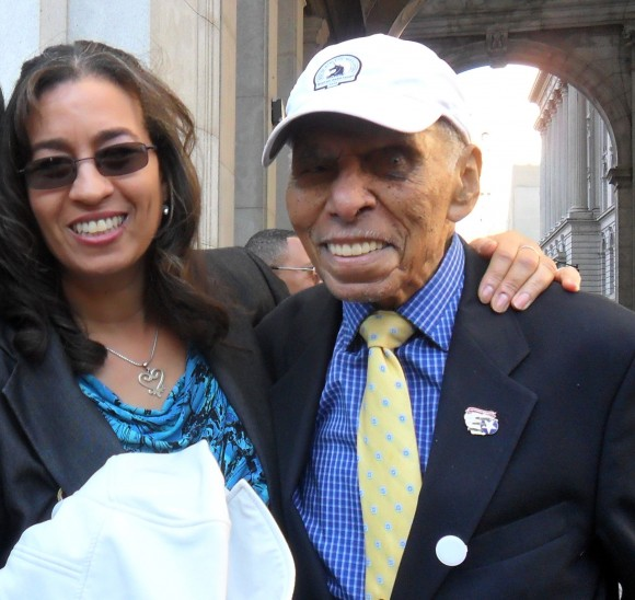 Roscoe Brown (R) and Lynda Hamilton attend the renaming event for the David N. Dinkins Municipal Building on Oct. 15, 2015. (Courtesy of Lynda Hamilton)