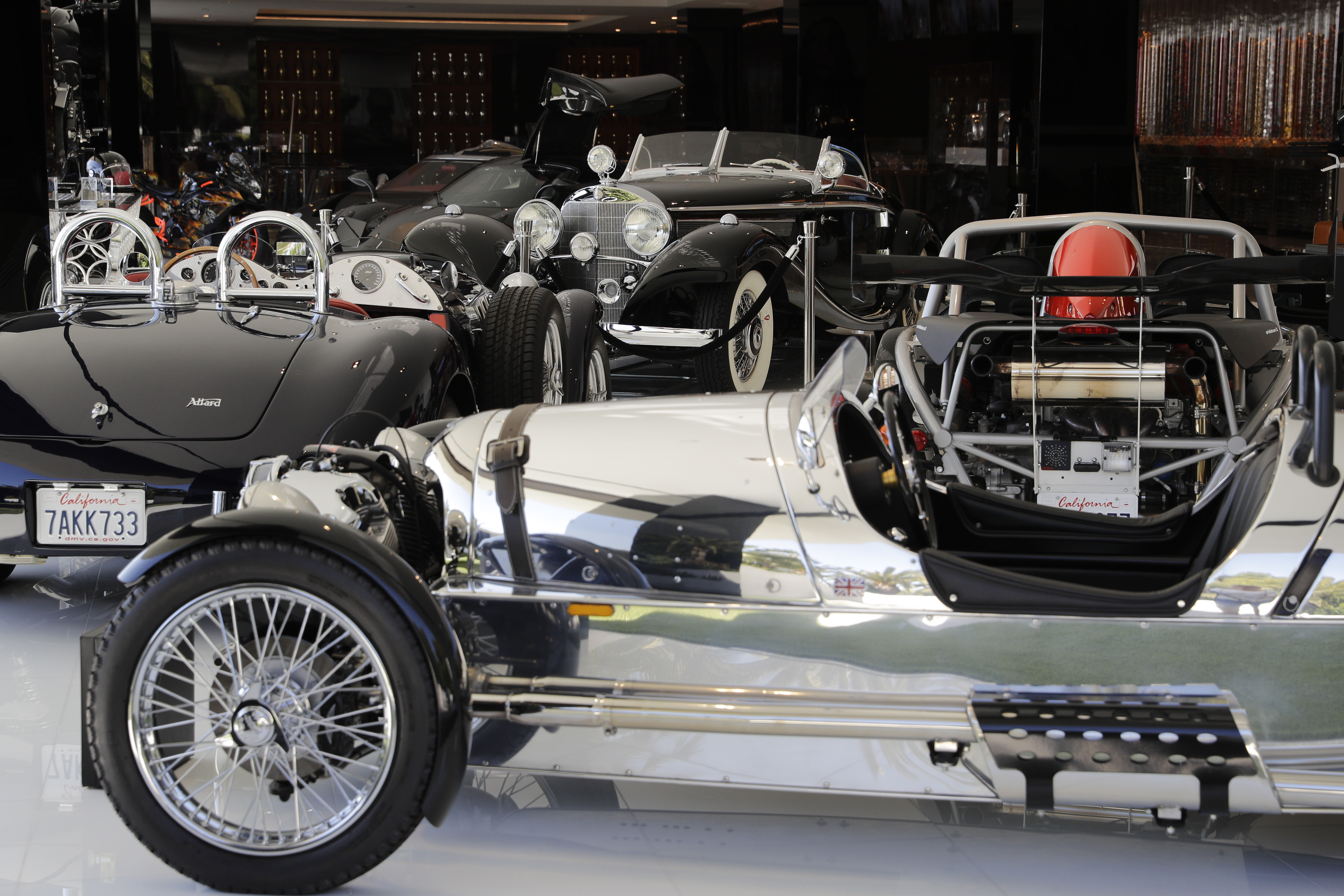 Classic cars valued over $30 million in the garage area of a $250 million mansion in the Bel-Air area of Los Angeles. (AP Photo/Jae C. Hong)