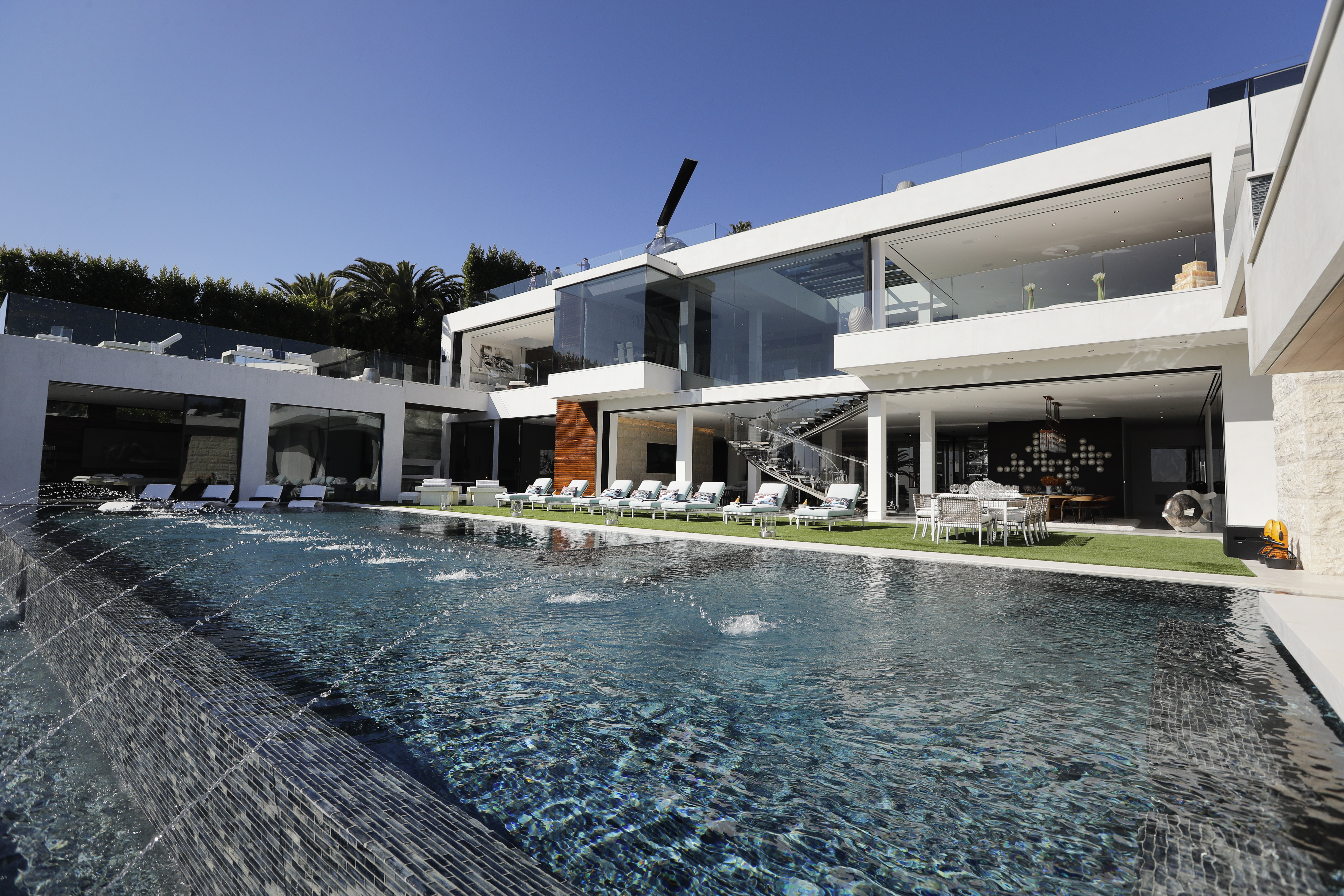 An 85-foot infinity swimming pool at a $250 million mansion in the Bel-Air area of Los Angeles. (AP Photo/Jae C. Hong)