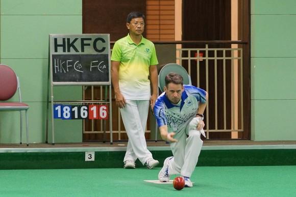 Hong Kong Football Club skipper Neil Herrington deliver his last bowl to round up an impressive win against Hong Kong International Li Ming Sum. (Mike Worth)