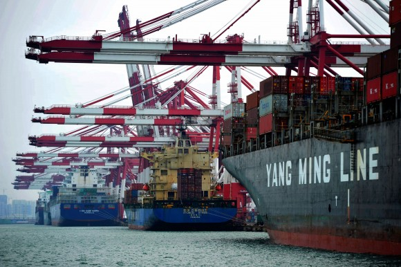 Cargo ships berth at a port in Qingdao, east China's Shandong Province on June 8, 2016. (STR/AFP/Getty Images)