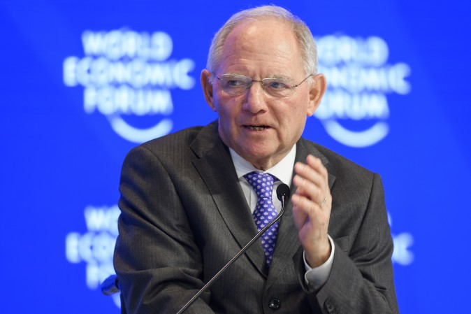 Germany's finance minister Wolfgang Schäuble during the World Economic Forum, in Davos, Switzerland, Jan. 20. (FABRICE COFFRINI/AFP/Getty Images)