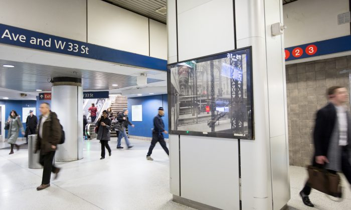 A photo of the original McKim, Mead & White Penn Station on display in the Amtrak concourse of Pennsylvania Station in New York, on Feb. 6, 2017. (Samira Bouaou/Epoch Times)