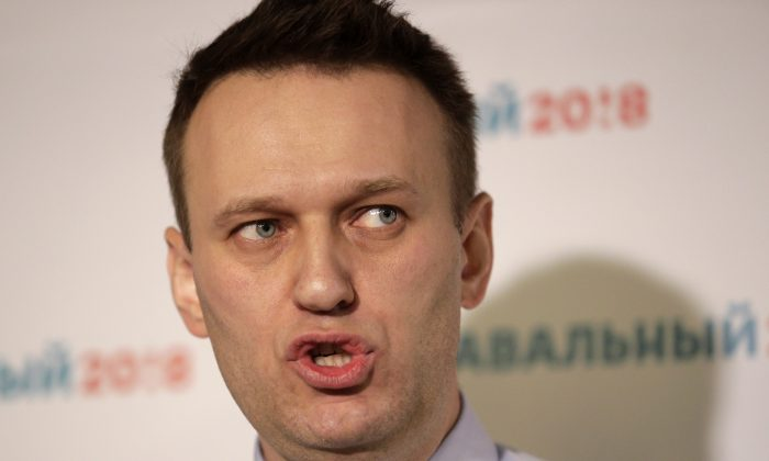 Russian opposition leader Alexei Navalny speaks at a news conference in his campaign office in St. Petersburg, Russia, on Feb. 4, 2017. (AP Photo/Elena Ignatyeva)