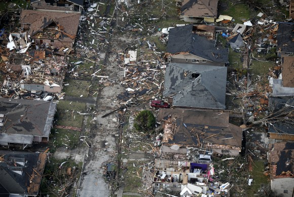 Destroyed and damaged homes are seen in this aerial photo, after a tornado tore through the eastern neighborhood in New Orleans, Tuesday, Feb. 7, 2017. (AP Photo/Gerald Herbert)