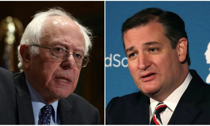 Bernie Sanders and Ted Cruz faced off in a debate over Obamacare hosted by CNN on Feb. 7, 2017. (Win McNamee/Getty Images; Mark Wilson/Getty Images)