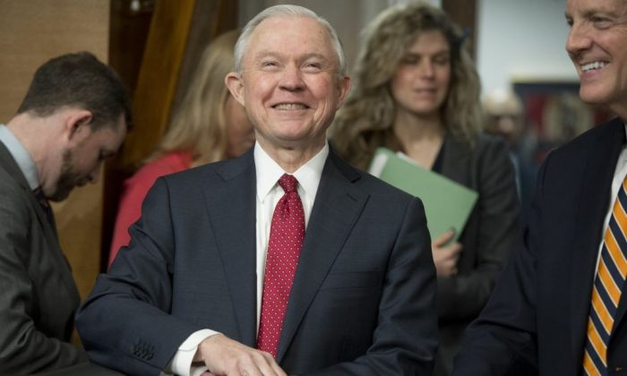US Senator Jeff Sessions, Republican of Alabama and nominee for US Attorney General, attends a Senate Environment and Public Works Committee hearing on Capitol Hill in Washington, DC., on Feb. 2, 2017. (SAUL LOEB/AFP/Getty Images)