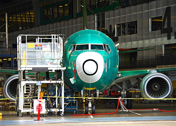 A Boeing 737 aircraft during the manufacturing process at the Boeing factory in Renton, Wash., on May 19, 2015. The company is America's biggest manufacturing exporter. (SAUL LOEB/AFP/Getty Images)