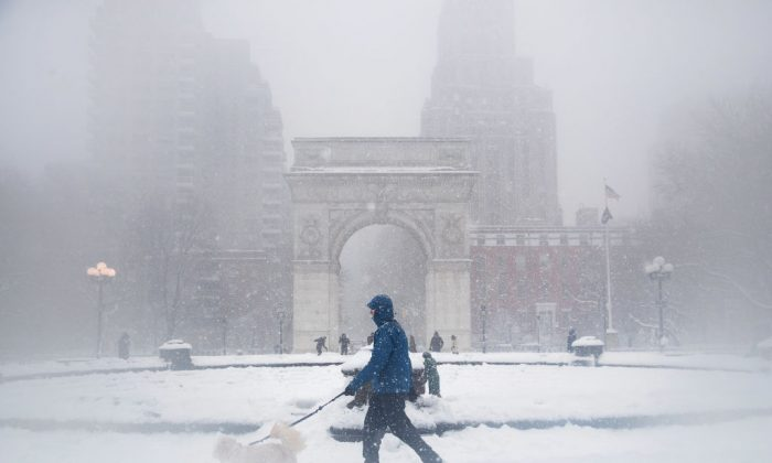 A man walks his dog in the snow in Washington Square Park, in New York City on Feb. 9, 2017. (Drew Angerer/Getty Images)