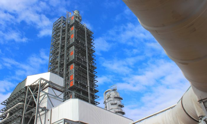 Petra Nova coal-fired power plant in Thompsons, Texas, is the first full-scale carbon-capture plant in the country and the largest in the world. It began operations in January. (Courtesy ... have to get permission)