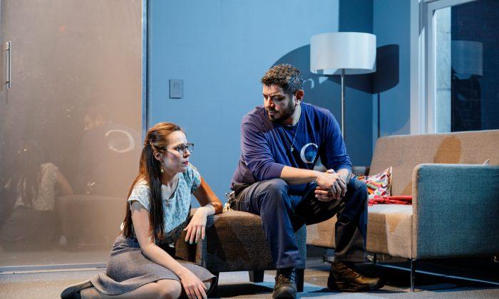 "Lucia (Annie Dow) and Abel (Eddie Martinez) in Tanya Saracho's ""Fade."" (James Leynse)"