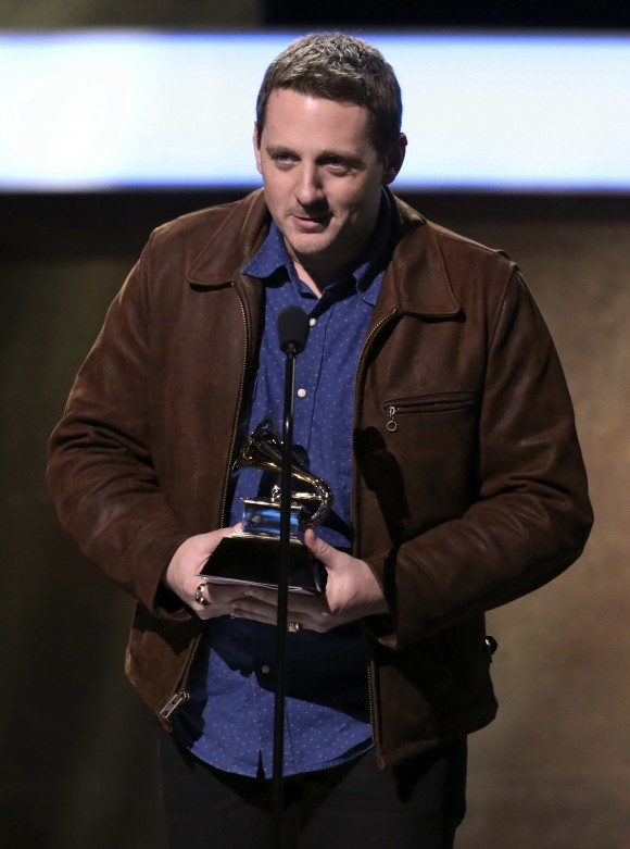 "Sturgill Simpson accepts the award for best country album for ""A Sailor's Guide To Earth"" at the 59th annual Grammy Awards on Sunday, Feb. 12, 2017, in Los Angeles. (Photo by Matt Sayles/Invision/AP)"