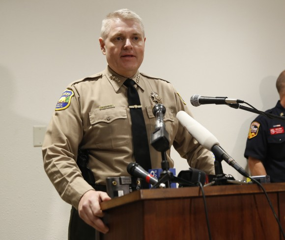 Butte County Sheriff Kory Honea speaks during a news conference about the situation at the Oroville Dam on Feb. 12, 2017. (AP Photo/Rich Pedroncelli)
