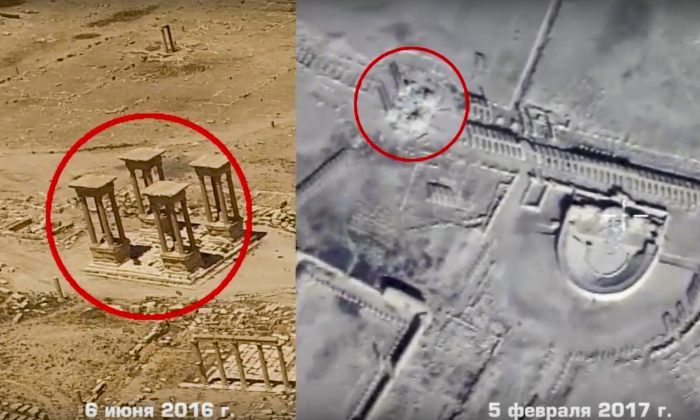 This photo combo, made from footage taken from the Russian Defense Ministry official website, purports to show the Tetrapylon, a set of four monuments with four columns each at the center of the colonnaded road leading to a Roman-era amphitheater on June 6, 2016 (L) and on Feb. 5, 2017  in Palmyra, Syria. (Russian Defense Ministry Press Service, via AP)