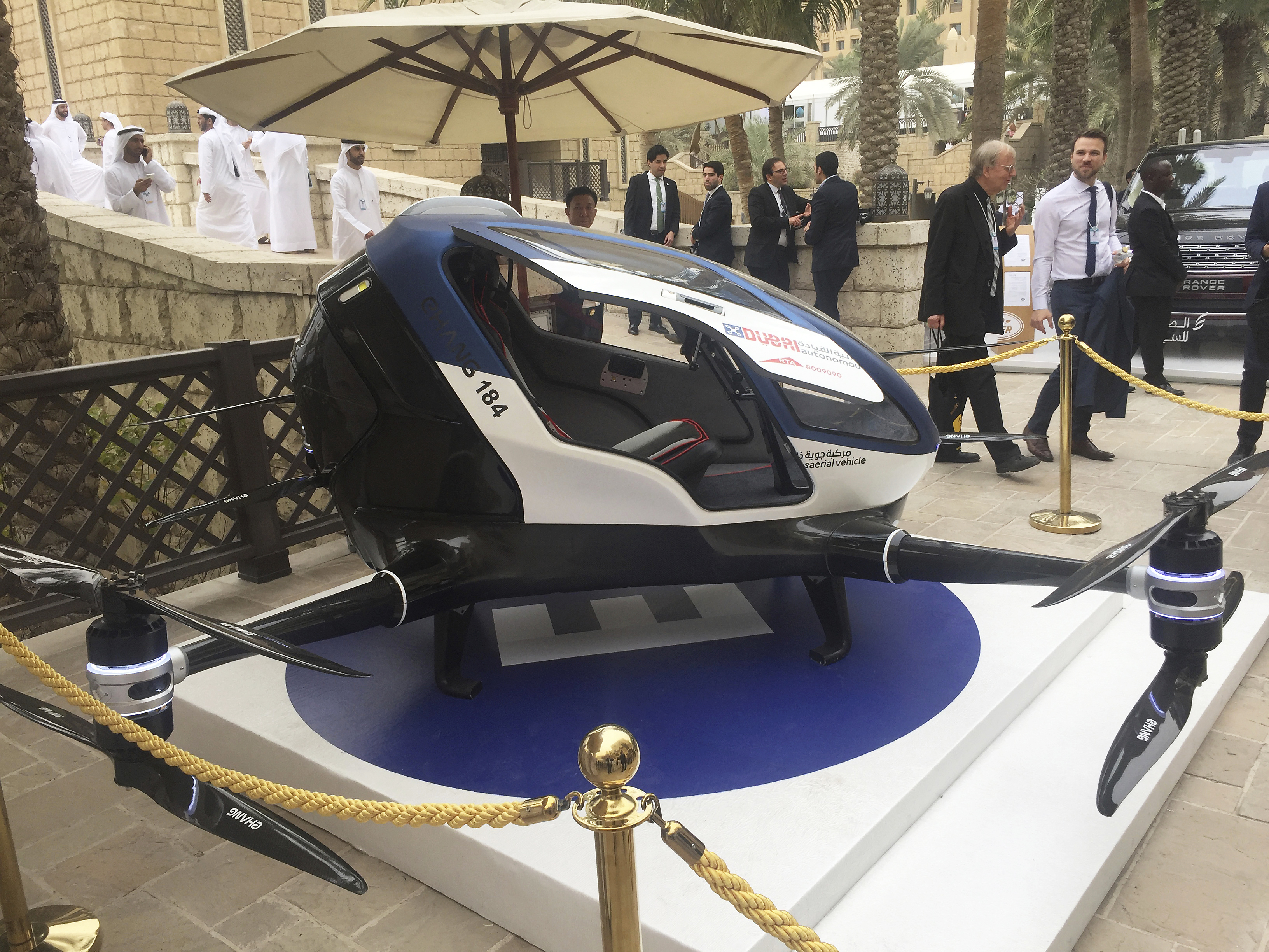 A model of EHang 184 and the next generation of Dubai Drone Taxi during the second day of the World Government Summit in Dubai, United Arab Emirates on Feb. 13, 2017. (AP Photo/Jon Gambrell)