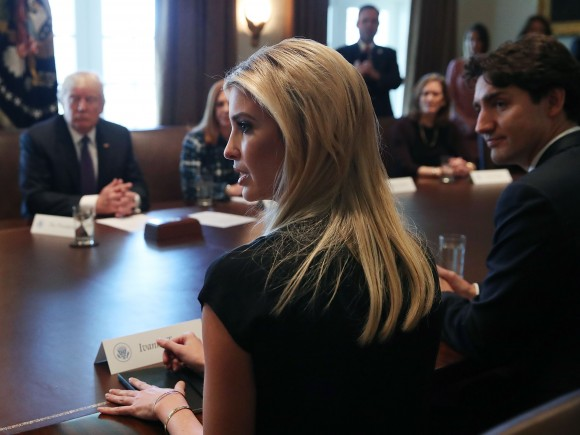 President Donald Trump (L), Canadian Prime Minister Justin Trudeau (R) and Ivanka Trump (C), listen to women speak during roundtable discussion on the advancement of women entrepreneurs and business leaders at the White House in Washington on Feb. 13, 2017. Later in the day the two leaders are scheduled to speak to the media at a news conference. (Mark Wilson/Getty Images)