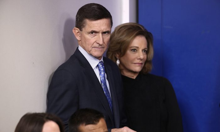 National Security Adviser Michael Flynn waits to answer questions in the briefing room of the White House in Washington on Feb. 1, 2017. (Win McNamee/Getty Images)