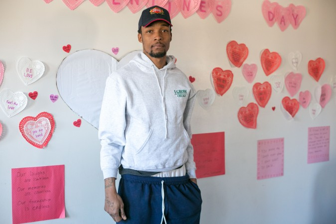 Clarence Franklin, a former gang member who now works for the non-profit organization I Grow Chicago, inside the I Grow Chicago Peace House in Englewood, Chicago, on Feb. 3, 2017. (Benjamin Chasteen/Epoch Times)