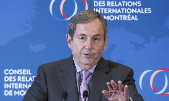 Canada's Ambassador to the Unitied States David MacNaughton speaks during a business luncheon in Montreal on Nov. 16, 2016. MacNaughton is cautiously optimistic that any renegotiation of the North American Free Trade Agreement will go well for Canada. (THE CANADIAN PRESS/Graham Hughes)
